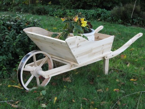 Wood Wheelbarrow - Solid Cedar Wood Wheel Barrow - Yard Art -