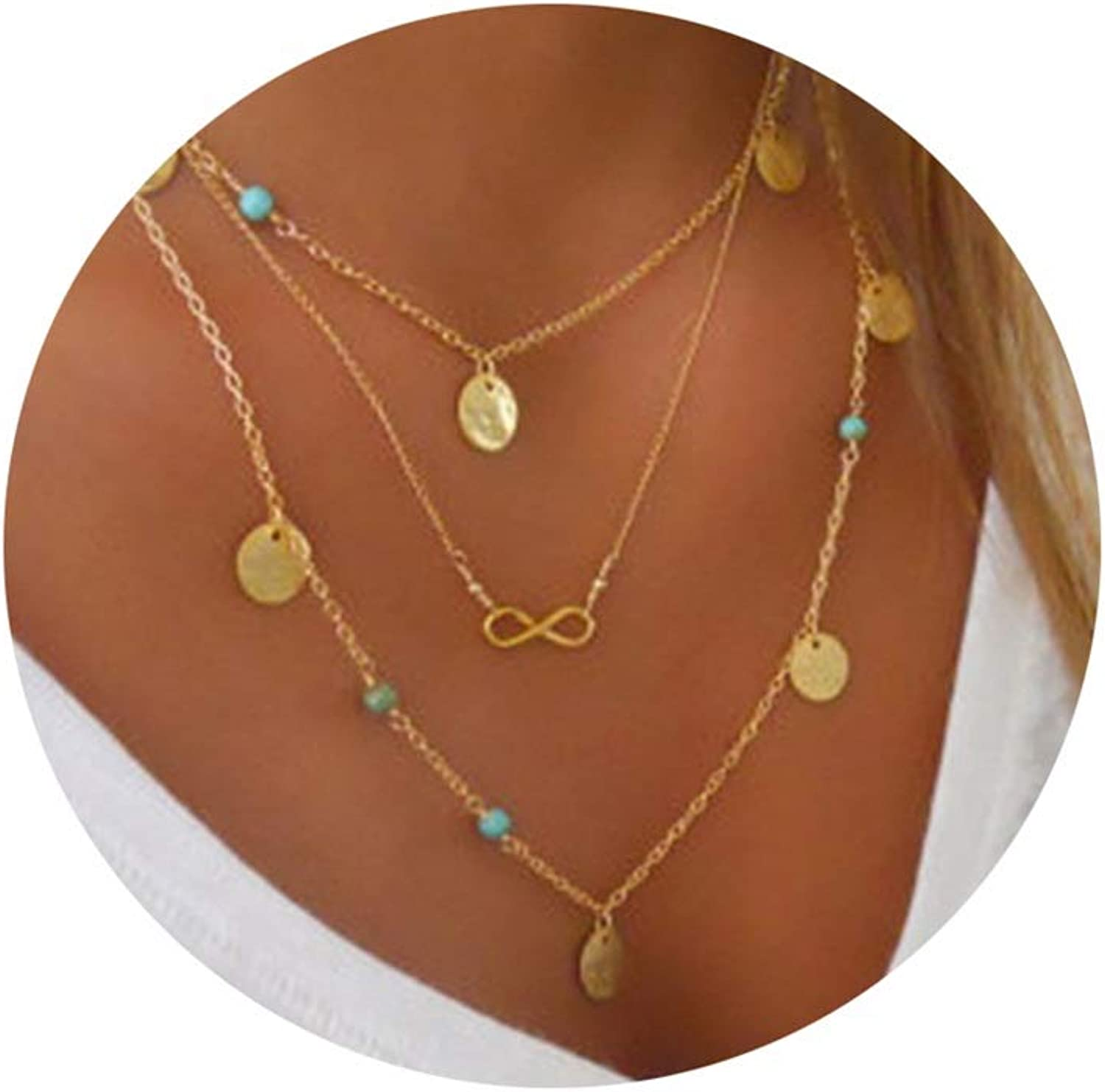 Women Girls 3 Layer Gold U Necklace with Adjustable Chain Epinki Gold Plated Multilayer Necklace