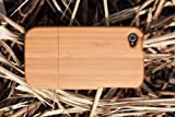 [100% RAW WOOD] 100% Natural Bamboo Wood - Phone/Mobile Case for iPhone 4/4S (Plain) + Free Protector