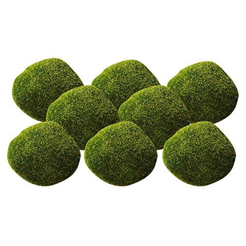 RoseSummer 8Pcs Green Moss Artificial Stones Grass Plant Poted Garden Home Decor Landscape