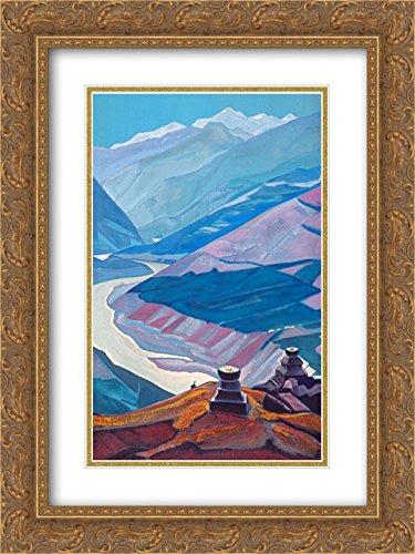 Art Art Chandra (Nicholas Roerich 2X Matted 18x24 Gold Ornate Framed Art Print 'Chandra-Bhaga (Path to Triloknath)')