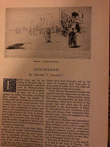 (1919 Samakand Bokhara Reghistan Medresse Court illustrated)