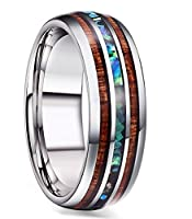 FIBO STEEL 8MM Titanium Wedding Band Ring for Men Women Wood and Abalone Shell Inlaid Size 7-14