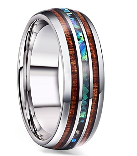 Attractive Wedding Ring - FIBO STEEL 8MM Titanium Wedding Band Ring for Men Women Wood and Abalone Shell Inlaid Size 10