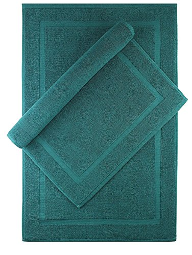 Cotton Craft - 2 Pack Bath Mat - Teal - 100% Ringspun Cotton Tub Mat 21x34 - Oversized 21x34 Heavy Weight 1000 Grams - 2 Ply Construction - Highly Absorbent - Soft Underfoot - Easy Care Machine Wash by Cotton Craft
