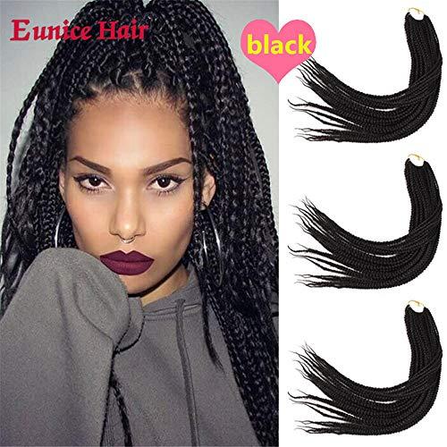 Eunice 24 Inch Long Box Braid Style Crochet Hair 20 Roots/Pack Synthetic Hair Crochet Braid 6 Packs 3S Small Box Braiding (#1B)