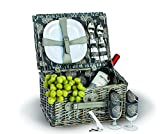 Picnic Plus ® Boothbay Two person Picnic basket Willow Picnic Basket With Two Plates/Flatware/Wine Glasses/Cotton Napkins/Corkscrew (14 pcs Included) (Grey) by