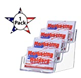 Marketing Holders Four Pocket Tiered Business Card Holder (Clear, 1)