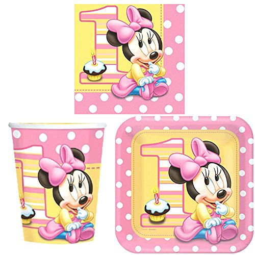 Minnie's 1st Birthday Party Tableware Pack Including Cups, Plates, and Napkins for 16 Guests