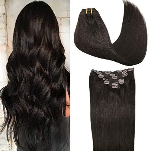 Googoo Hair Extensions Dark Brown Clip in Human Hair Extensions 120g Straight Natural Hair Extensions Thick Clip in Remy Extensions 20 Inch