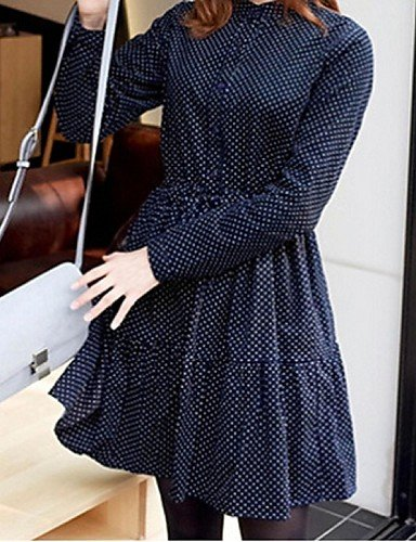 PU&PU Robe Aux femmes Gaine Simple,Points Polka Col Arrondi Au dessus du genou Polyester , navy blue-one-size , navy blue-one-size