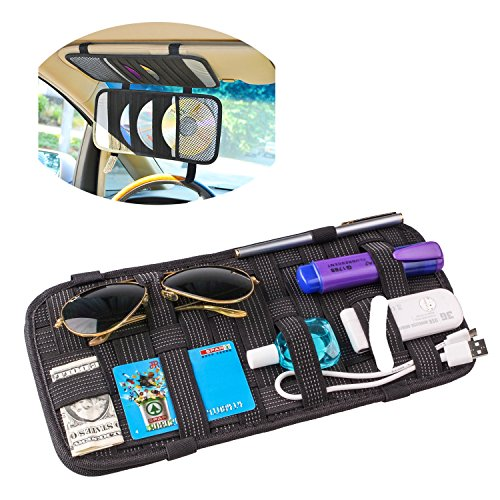 TFY Car Visor Organizer - Card Storage and Electronic Accessory Holder - Triple-layer, 20-Pocket CD Disk Storage Holder (Visor Cd Organizer)
