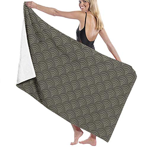 Amanda Billy Cotton Craft Super Soft Oversized Bath Towel Army Green Surf Texture Linen - Luxury Hotel Towel - Ideal for Everyday Use