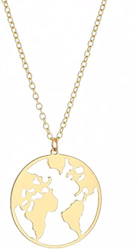 Antiqued gold tone World Globe mother earth necklace light to wear