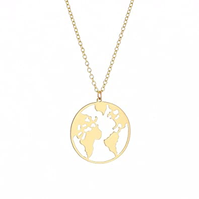 Amazon.com: Stan Deed Creative Design World Map Necklace Hollow