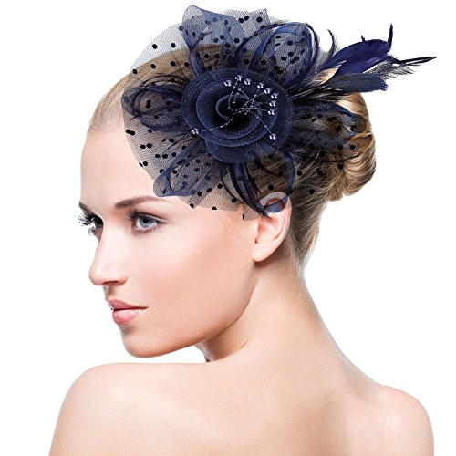 - Acecharming Fascinators for Women, Feather Sinamay Fascinators with Headbands Tea Party Pillbox Hat Flower Derby Hats(Navy Blue-Pearl)
