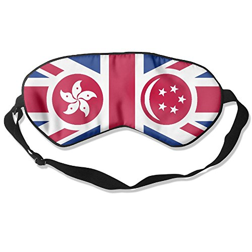 Hong Kong And Singapore Flag Adult Children Unisex Sleeping Eye Mask Natural Silk Cover With Adjustable Strap Blindfold Super-smooth - Lens Singapore Oakley