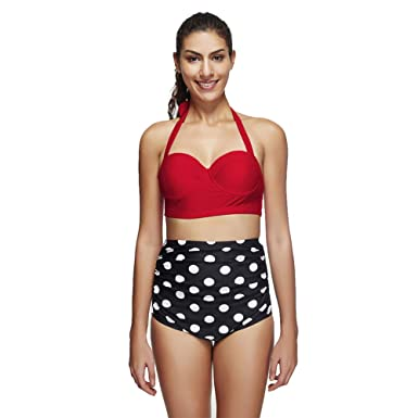 a2b745f72b5 Amazon.com  LEOVERA Women s Retro Vintage Polka Underwire High Waisted Swimsuit  Bathing Suits Bikini LVYY9946-LB16745-Pink-M  Clothing
