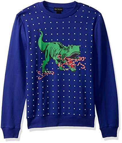 Alex Stevens Mens Candy Cane T-rex Ugly Christmas Sweater