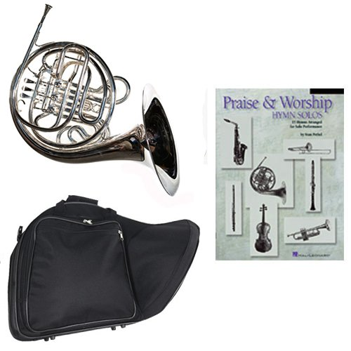 Band Directors Choice Silver Plated Double French Horn Key of F/Bb -Praise & Worship Hymn Solos Pack; Includes Intermediate French Horn, Case, Accessories & Praise & Worship Hymn Solos Book by Double French Horn Packs