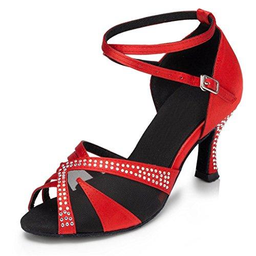 Elegant Women's Red 6 5B Salsa Dance Modern Shoes Latin Monie Ballroom US Mesh Strappy a5Pdw5xq