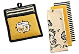 Design Imports Honey Bee Potholder/Towel Gift Set 3 Busy Bee Dishtowels - Petite Black White Stripe, Yellow Gold Bumble Bee Print.