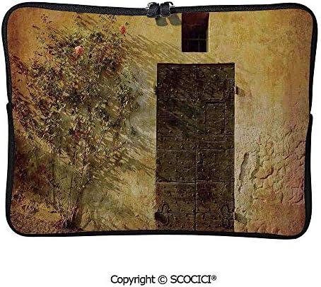 石造りの家地中海の歴史的な芸術的なイタリアのドア PCバッグ PCケース 防水 多機能 ウェアラブル ユニセックス 学校 ハンドバッグ 15inch