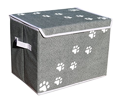 Feline Ruff Large Dog Toys Storage Box 16″ x 12″ Pet Toy Storage Basket with Lid. Perfect Collapsible Canvas Bin for Cat Toys and Accessories Too! (Gray) For Sale