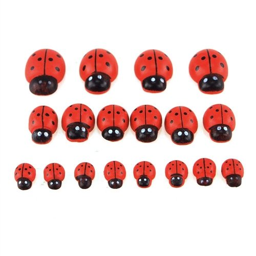 Homeford Firefly Imports Self Adhesive Lady Bug Wooden Favors, 3 Size, 18-Count, Red, 1
