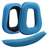 Poyatu Ear Pads+Headband Top Cushion Pillow Set for Logitech G430 G930 Headphones Replacement Ear Cushion Earpads Earbuds Blue