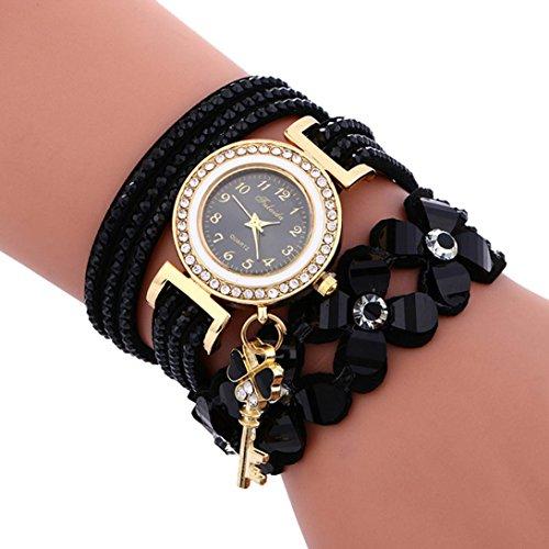 Clearance Women Watch Daoroka Fashion Chimes Diamond Leather Bracelet Lady Women's Wrist Watch Jewelry Gift (Black) from Daoroka Watch
