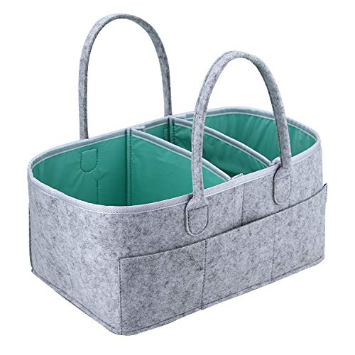 Baby Diaper Caddy Organizer - Portable Storage Basket - Essential Bag for Nursery, Changing Table and Car - Waterproof Liner is Great for Storing Diapers, Bottles, Baby Wipes, Baby Toys & Pacifiers