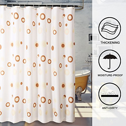 Kmart Polyester Shower Curtain (Hogoo Polyester Shower Curtain with Hooks (Treated to Resist Deterioration by Mildew) - 72 x 72 inches,Circle)