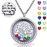 Family Tree of Life Floating Charm Locket I love You Moon and Back Necklace 12 Heart Birthstones Include