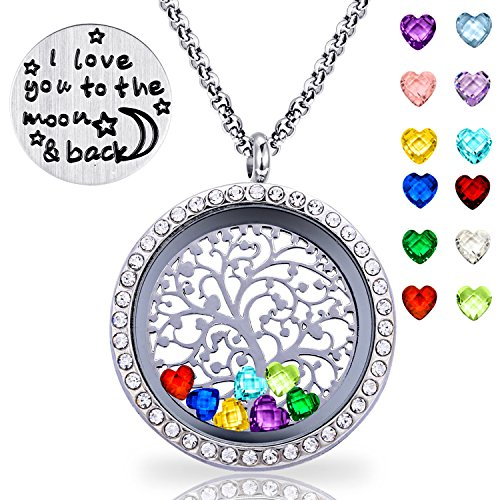 XingYue Jewelry Family Tree of Life Floating Charm Locket I Love You Moon and Back Necklace 12 Heart Birthstones Include (Family Tree CZ (Flower Backplate)
