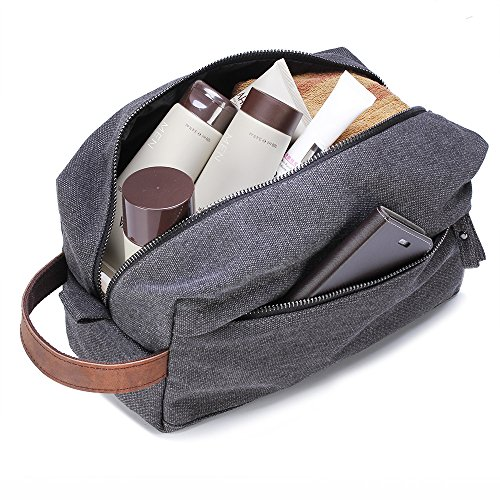 Lucky Rain Canvas Travel Toiletry Bag, Dopp Kits with Genuine Leather Handle - Dig Handle