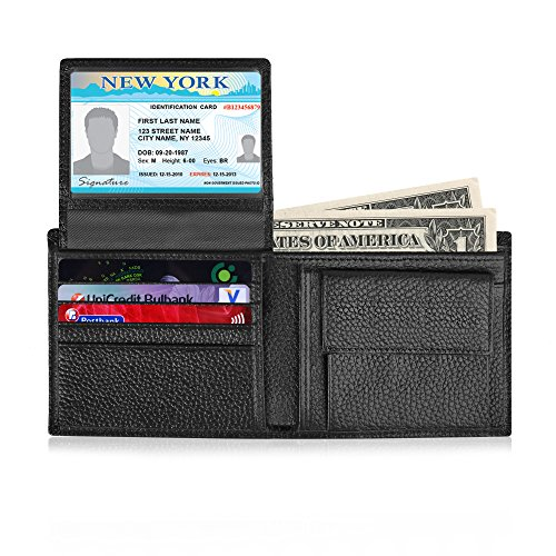 Dierro RFID Blocking Leather Wallet with Coin Pocket - Multiple Credit Card Slots - Slim Front Pockets Fit - Flip up ID - Zippered Compartment – Pack in Luxury Gift Box for Men (Black)