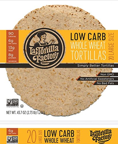 La Tortilla Factory Whole Wheat Low Carb Tortillas (Large Size)- Pack of 20 - 43.7 Oz / 2.73 ()