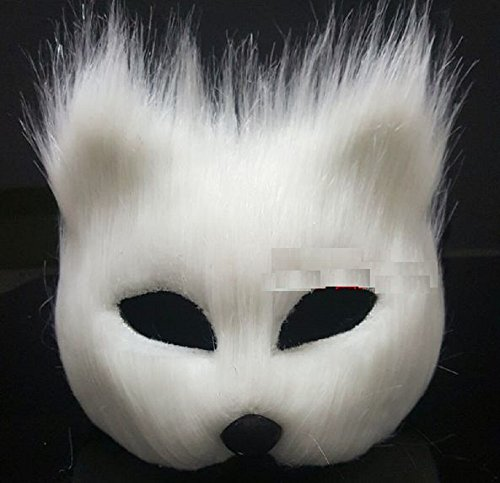 [T2C Fox Mask Sex Mask for Party Halloween Horror Masks Cosplay Festival Performance Props Supplies Bar Dance Prom Dress Animal Caps White Half] (White Rabbit Dance Costumes)