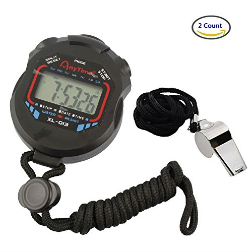 Akak Store Sports and Referee Digital Stopwatch Timer /W Bonus Stainless Steel Coach Whistle with Lanyard (Baseball Coach Whistle compare prices)