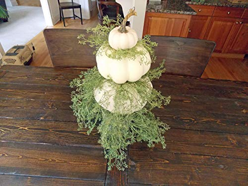(Extra Large Rustic White Pumpkin Tower Centerpiece with Greenery for Fall Thanksgiving Table and Autumn Home Decor, Handmade, 22 Inches Tall)