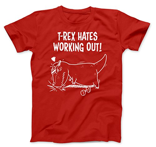 Crazy Dog TShirts - Mens T-Rex Hates Working Out Tshirt Funny Dinosaur Fitness Push Ups Tee (Red) 3XL - herren - 3XL