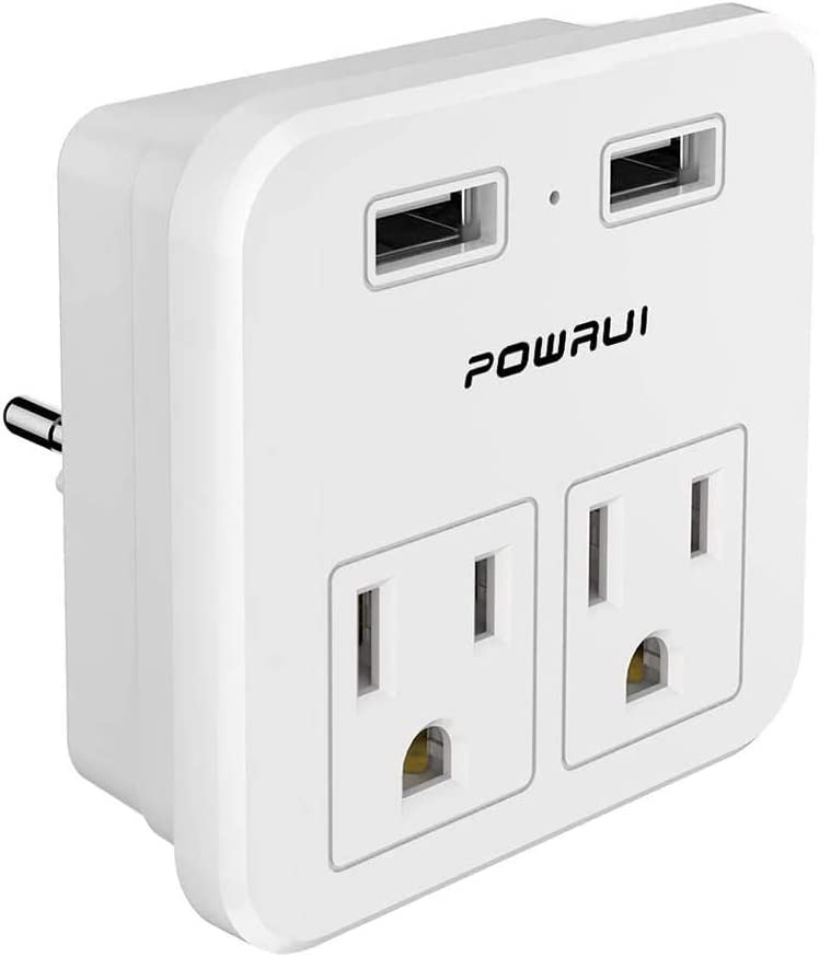 European Plug Adapter, travel adapter, POWRUI international power adapter with 2 AC Outlets and Dual USB ports for USA To Most of Europe EU Israel Brazil Italy(Type C - Most of Europe)