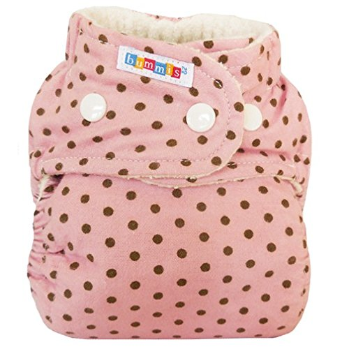Bummis Flannel Fitted Diaper - Organic Cloth Diaper - Girl Print -Colors May (Organic Fitted Cloth Diaper)