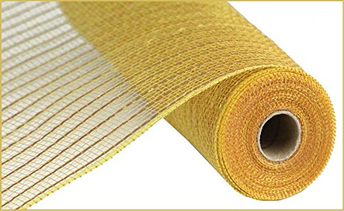 Matte Wide Foil Deco Poly Mesh Ribbon, 10 Inches x 30 Feet (Matte Gold) -