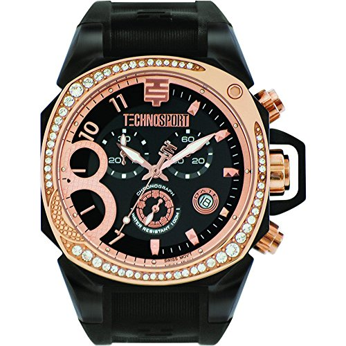 Technosport TS-103-8 Women's Swiss Rose Gold & Black Chrono Watch Crystal Accented Bezel