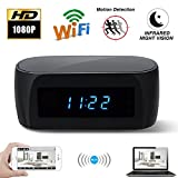 CAMXSW Wi-Fi Electronic Clock Camera with Super Night Vision,HD 1080P Mini Pet Camera,12 Hour Time Table Clock Nanny Cam Real-time Video Recorder Remotely Monitoring Home Security surveillance Black