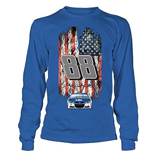 - FanPrint Dale Earnhardt Jr. T-Shirt - Nascar 88;Patriotic Distressed Flag Design - Longsleeve Tee/Royal/L