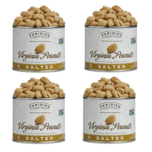 FERIDIES Salted Super Extra Large Virginia Peanuts 4 pack 9oz Tins ()