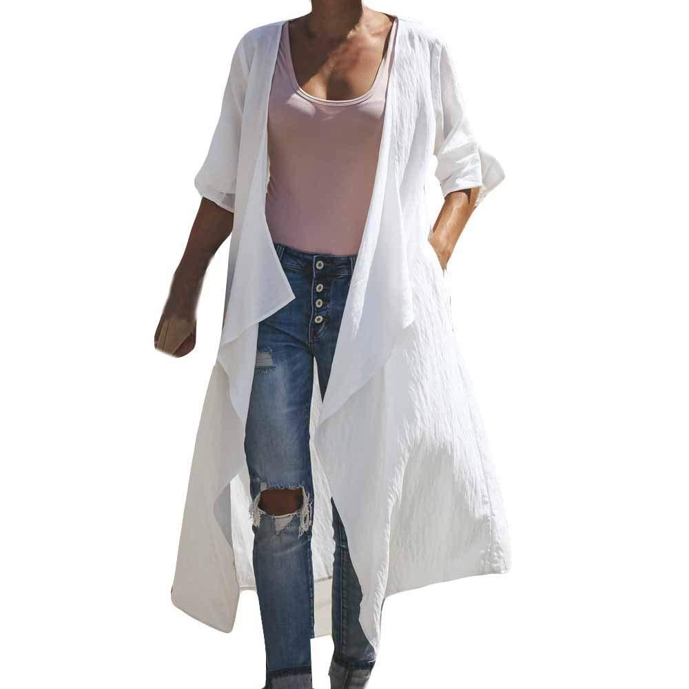 Hatoys Kimono Women Fashion Loose Shawl Kimono Cardigan Tops Cover up Pure Color Long Coat Blouse